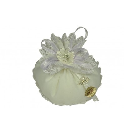 sacchettino misto seta macramee bianco + margherita gemma
