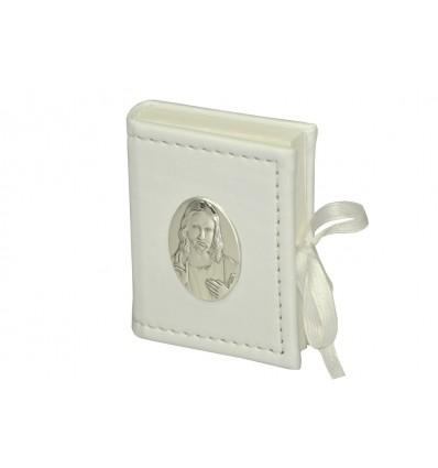 porta rosario pelle Cristo, placca argento