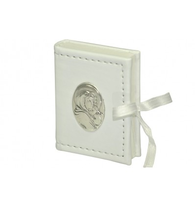 porta rosario pelle Madonna, placca argento
